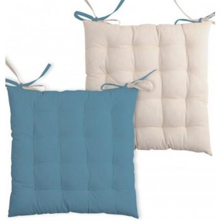 Perna scaun bumbac cu 2 fete Duo Albastru Bej