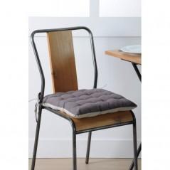 Perna scaun bumbac cu 2 fete Duo Gri perlat Gri inchis