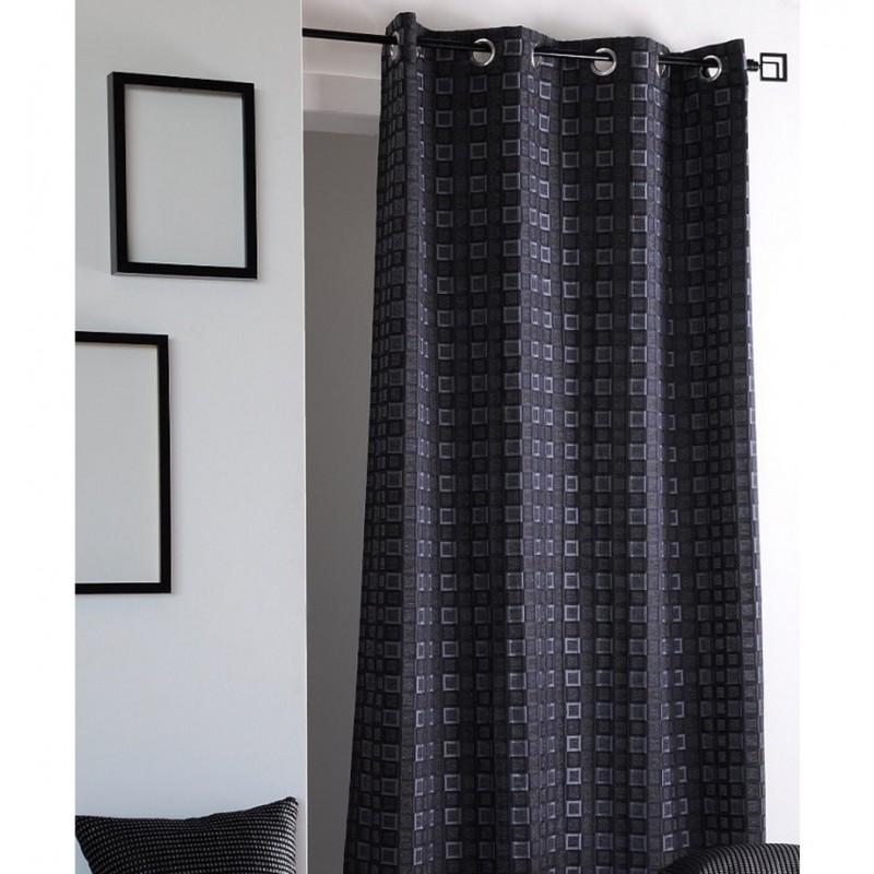 Draperie moderna cu imprimeu geometric confectionata cu inele 140x260 cm