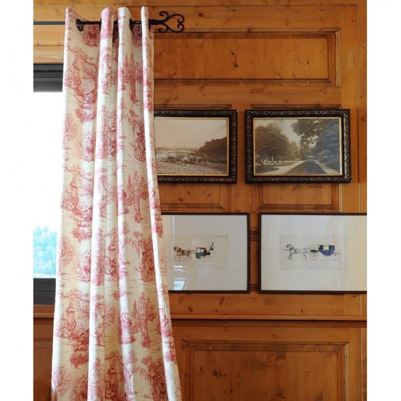 Draperie bumbac crem cu imprimeu rosu confectionata cu inele 135x250 cm