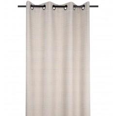 Draperie bumbac bej cu design modern  confectionata cu inele 140x260 cm