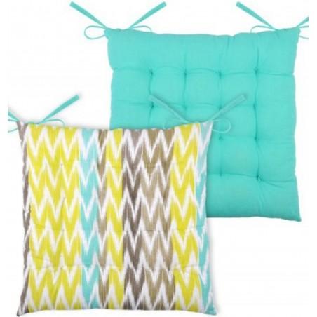 Perna scaun cu 2 fete bumbac Ikati bleu Rayee