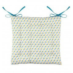 Perna scaun bumbac cu imprimeu geometric Isocele albastru