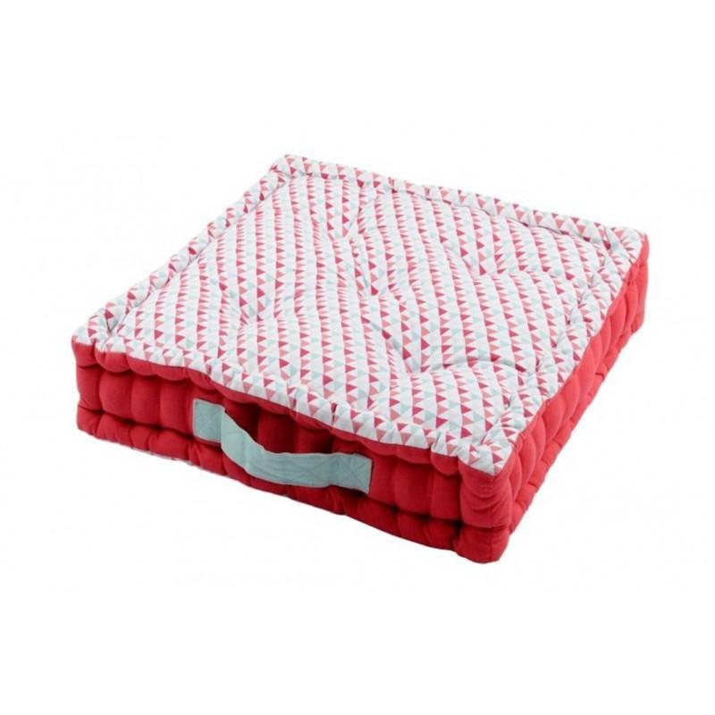 Perna podea bumbac cu imprimeu geometric Isocele rosu