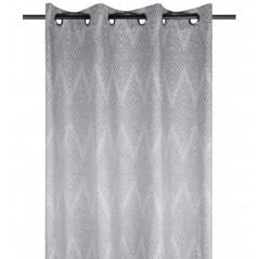 Draperie bumbac cu model zigzag confectionata cu inele Kano Gri