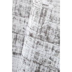 Draperie moderna gri cu model abstract confectionata cu inele 140x260 cm