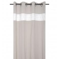Draperie bumbac design mixt bej cu alb confectionata cu inele 140x260 cm