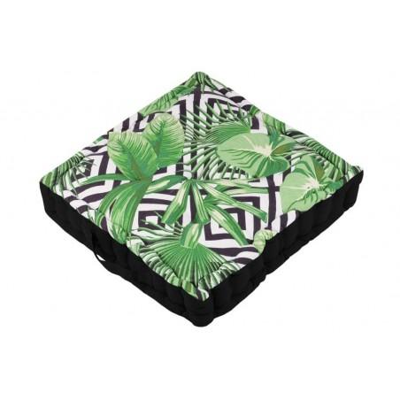 Perna podea frunze tropicale alb cu negru si verde