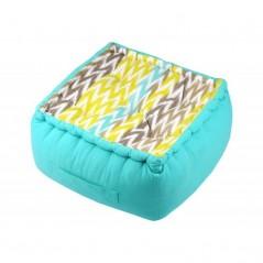 Puf podea bumbac cu imprimeu geometric Ikati bleu