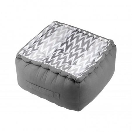Puf podea bumbac cu imprimeu geometric Ikati gri