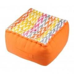 Puf podea bumbac cu imprimeu geometric Ikati Orange