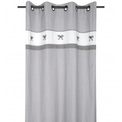 Draperie bumbac gri cu alb confectionata cu inele 140x260 cm