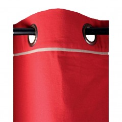 Draperie bumbac confectionata cu inele Duo rosu cu bej