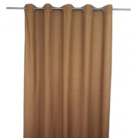 Set 2 draperii din in confectionate cu inele maro