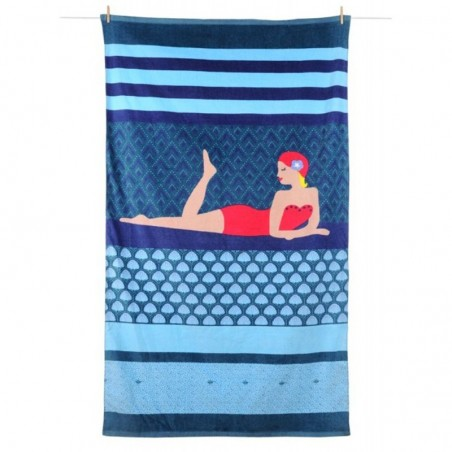 Prosop plaja bumbac Aquatika albastru
