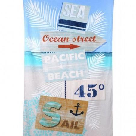 Prosop plaja din bumbac Pacifea bleu