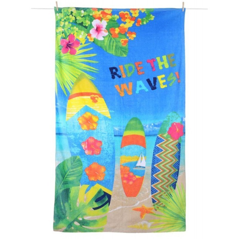 Prosop plaja din bumbac Wavy multicolor