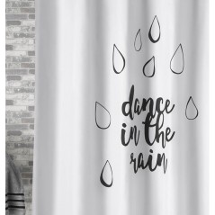 Perdea de dus moderna alb cu negru Dance in the rain