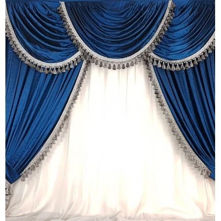 Ansamblu draperie cu mantovane albastru turcoaz pentru sina de 2 m