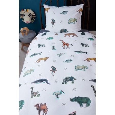 Set lenjerie de pat copii cu 1 fata de perna Zoo cu animalute colorate