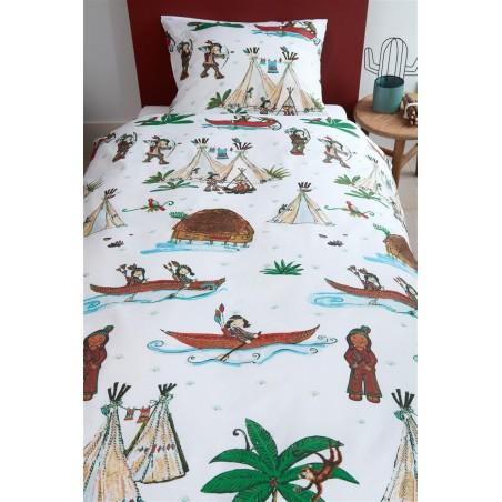 Set lenjerie de pat baieti cu 1 fata de perna Wigwam cu indieni si corturi