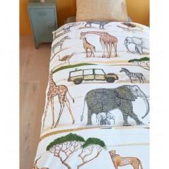 Set lenjerie de pat copii cu 1 fata de perna Jeep Safari cu animale salbatice
