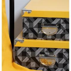 Set 6 cutii depozitare Beely galben cu gri