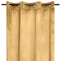 Draperie catifea confectionata pe inele Danae galben mustar