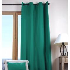 Draperie bumbac confectionata cu inele Duo Uni verde smarald