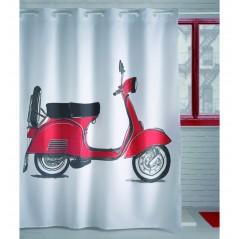Perdea de dus cu imprimeu si inele flexibile Moto rosu