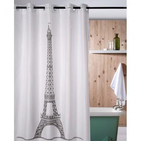 Perdea de dus cu imprimeu Turnul Eiffel si inele flexibile Retro