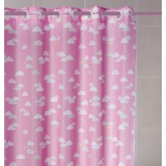 Perdea de dus roz cu norisori imprimati si inele flexibile Nubes