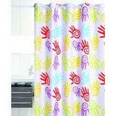 Perdea de dus cu palme multicolore si inele flexibile Hands