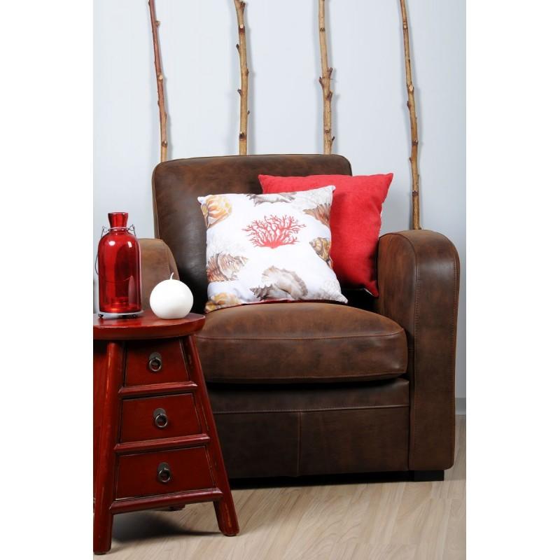 Perna decorativa cu 2 fete scoici si corali rosu cu alb
