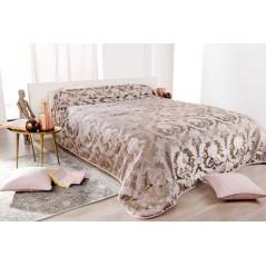 Cuvertura de pat Murano maro auriu cu roz pal