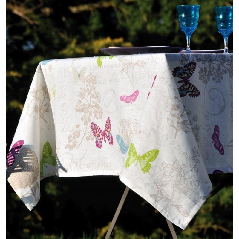 Fata de masa anti-pete in cu fluturi colorati Butterfly Alb