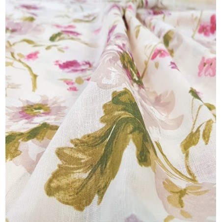 Metraj perdea din in Greco flori bej cu roz