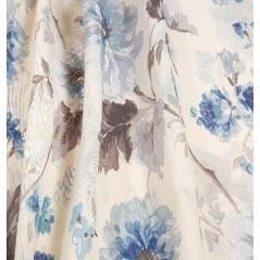 Metraj perdea din in Greco flori albastru cu gri