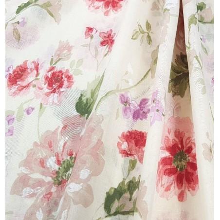 Metraj perdea din in Greco flori bej cu rosu