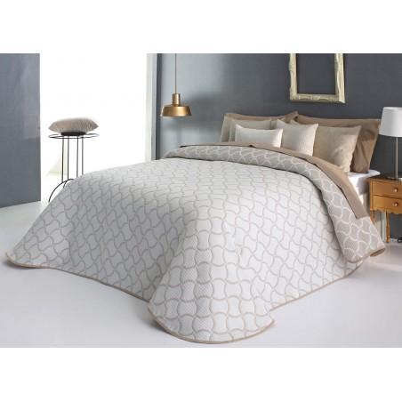 Cuvertura de pat eleganta Odd bej cu alb