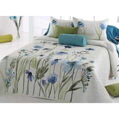 Cuvertura de pat cu motive florale albastre Okara