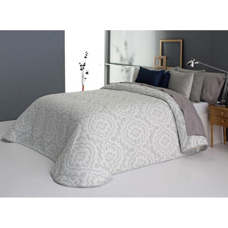 Cuvertura de pat cu model elegant Osborn gri cu alb