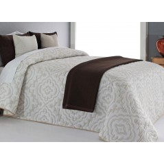 Cuvertura de pat cu model elegant Osborn bej cu alb