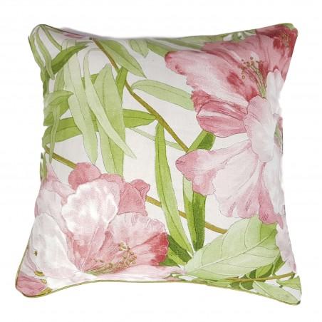 Perna decorativa cu 2 fete flori si dungi roz deschis si verde