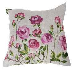 Perna decorativa motive florale roz pe fond gri