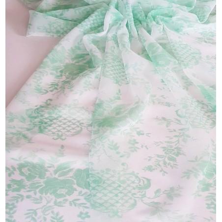 Metraj perdea retro voal alb cu verde