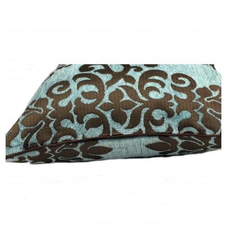 Perna decorativa cu imprimeu maro pe fond turcoaz
