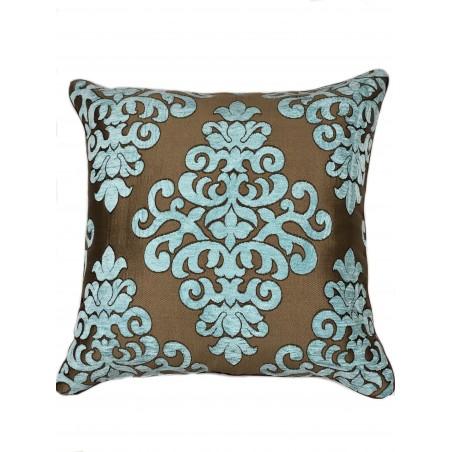 Perna decorativa cu imprimeu turcoaz pe fond maro