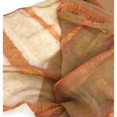 Metraj perdea organza creponata caramiziu cu dungi aramii