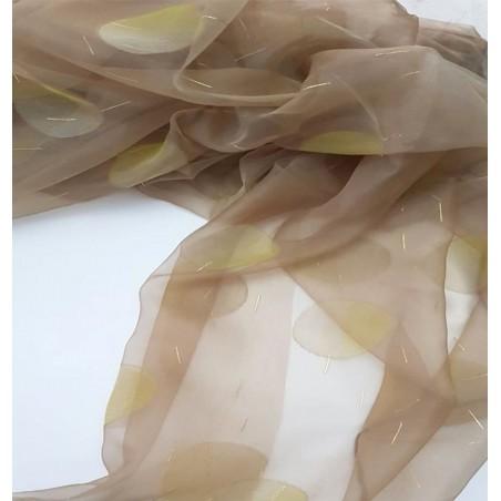 Metraj perdea organza maro cu buline olive